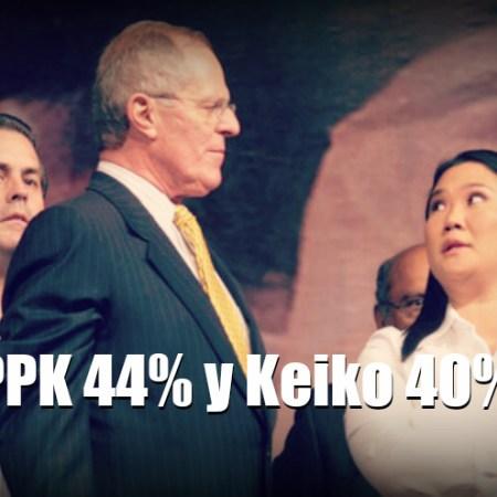 Segunda Vuelta: PPK 44% y Keiko 40%