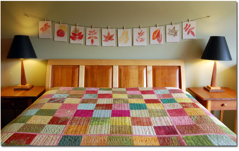 hand dyed fabric quilt made of simple squares earth colors