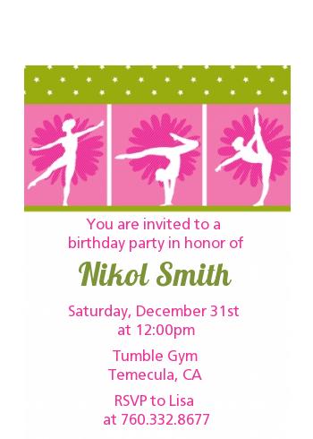 gymnastics birthday party petite invitations