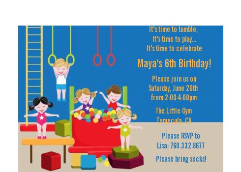 tumble gym birthday party petite invitations