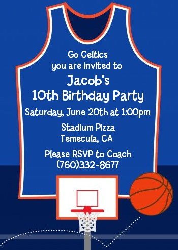 Basketball Jersey Blue And Orange Birthday Party