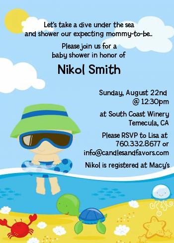 Beach Baby Boy Shower Invitations