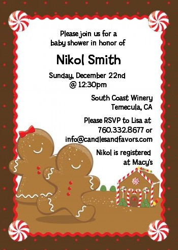 Gingerbread House Christmas Invitations Candles And Favors