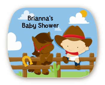 Little Cowboy Mint Tin Stickers Baby Shower Stickers