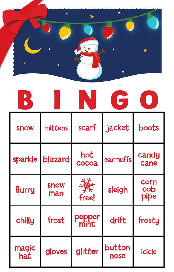 Snowman Family With Lights Free Christmas Bingo Game