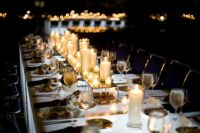 Wedding reception decor idea - mix high and low candles for a great effect. For the low candles use my battery opertaed tea light candles