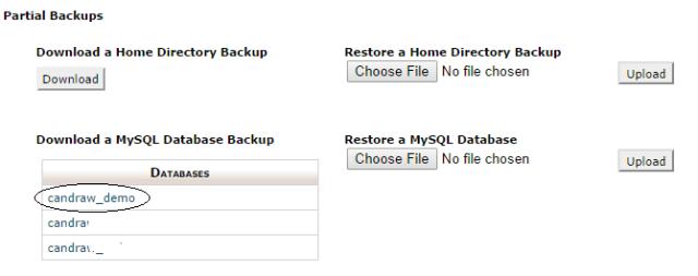 Klik database yang ingin di backup, dalam hal ini saya mengklik candraw_demo