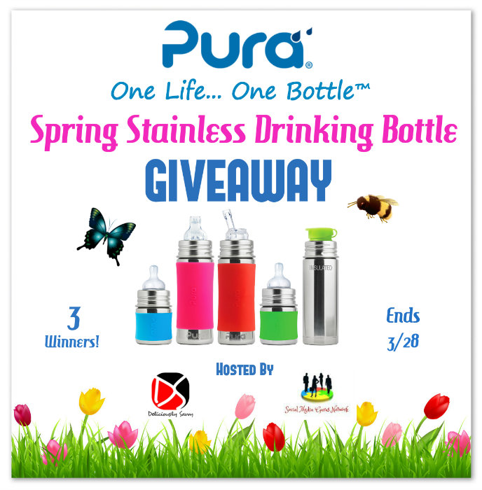 3 winners in the Pura Spring Stainless Drinking Bottle Giveaway! Ends 3/28