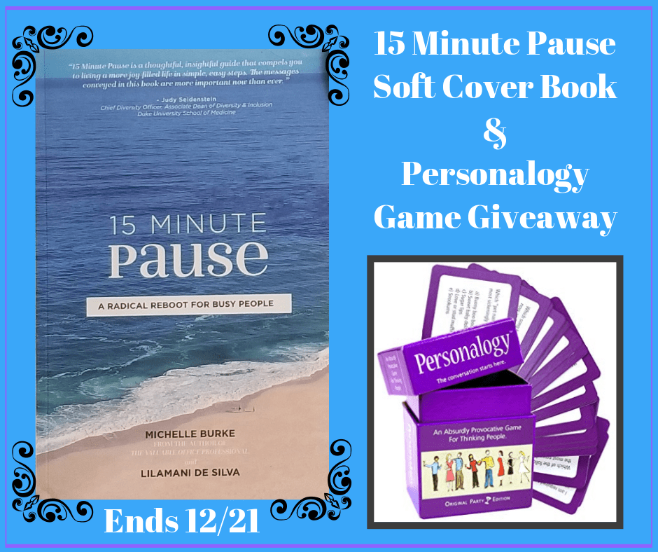 15 Minute Pause Book and Personalogy Game #Giveaway Ends 12/21