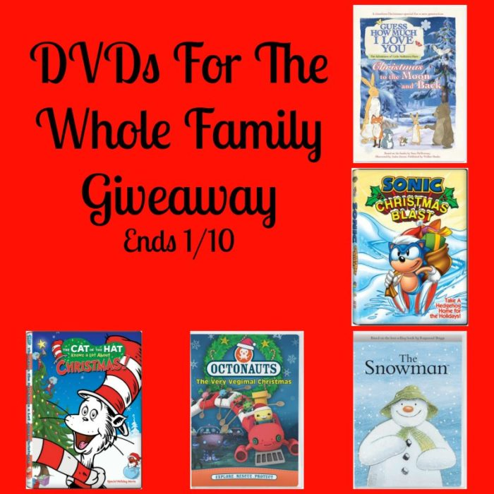 DVDs for the Whole Family #Giveaway Ends 1/10