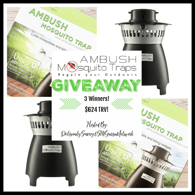 "Ambush Mosquito Traps ""Regain Your Outdoors"" #Giveaway 3 Winners Ends 3/31 @AmbushMosquitoTraps @deliciouslysavv"