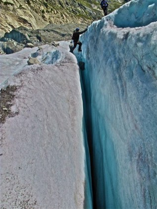 Walking over a crevice