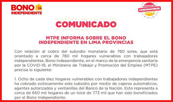 ENTÉRATE SOBRE EL BONO INDEPENDIENTE EN LIMA PROVINCIAS (Cañete, Huaral, Huaura, Barranca)