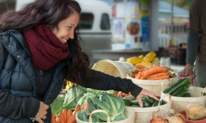 woman shopping for produce in grocery store