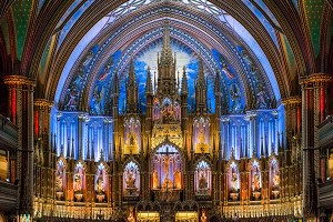 Inside view of the Montreal Montreal Notre-Dame Basilica.