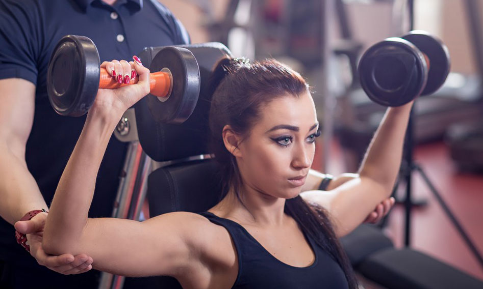 woman doing workout with personal training