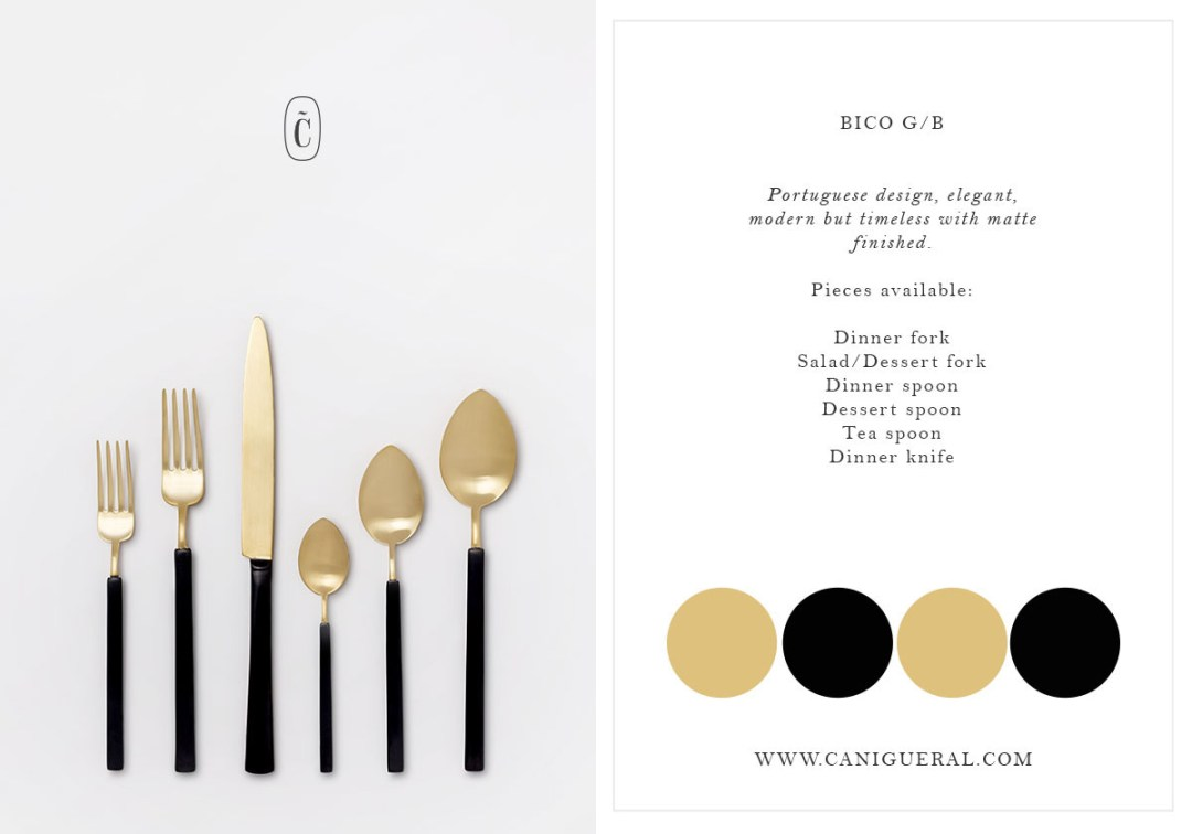flatware gold/black