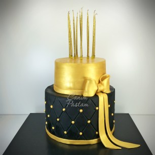Gold Cake Kapitone Cake Kutlama Pastası