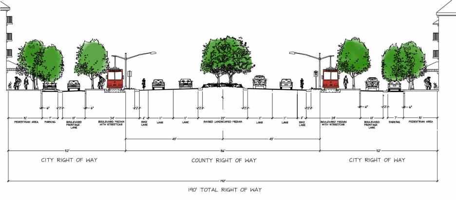 U:Restoration CAD typ. secM 190 RW 4-lane Boulevard with Stre