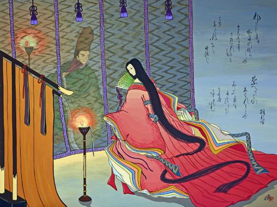 Escena de 'La novela de Genji' ilustrada por Agameishi.
