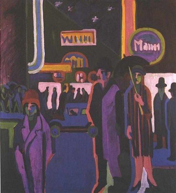 'Street scene at night' - Ernst Ludwig Kirchner