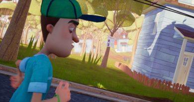 Boy running down the street, wearing a green baseball cap and blue t-shirt.