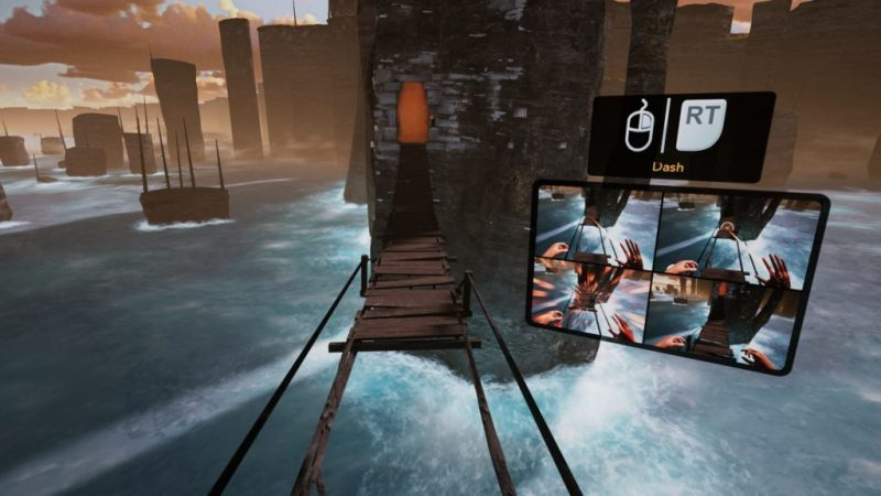 UI displaying instructions, broken bridge and tower in background with water below.