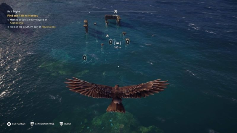 Ikaros flying above water and sunken ruins. Three sharks highlighted in the water.
