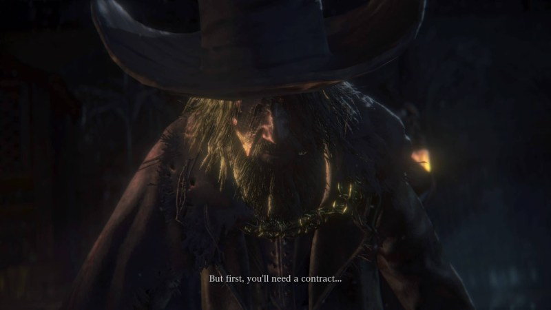 Man with wide brimmed hat and bandaged eye talking to player during a cutscene.