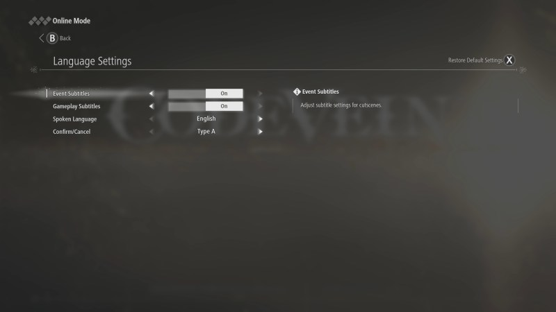 Language options menu.