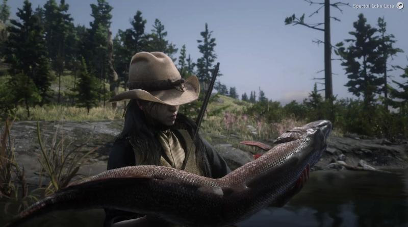RDR2 Online female character holding a large fish.