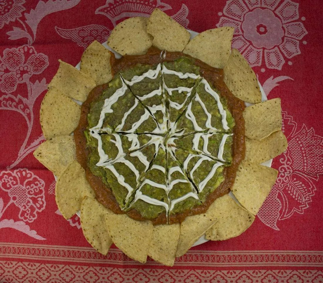 halloween marijuana recipes spider web dip with baked tortilla chips