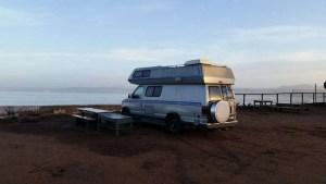 Camping beachside at the La Jolla Beach Camp in Punta Banda, Baja California, Mexico