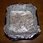 marijuana brownies, lining the pan