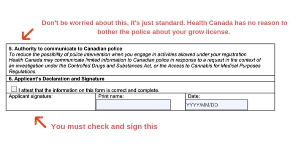 Example Canada marijuana license form police authorization