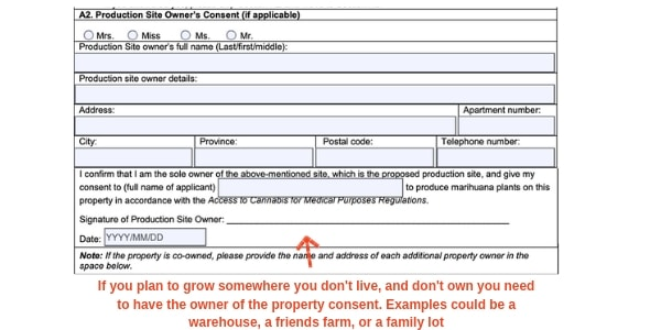 Example Canada marijuana license form production site owners consent