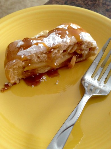 apple caramel braid slice