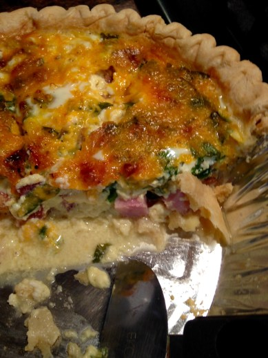 ham, cheese and spinach quiche half