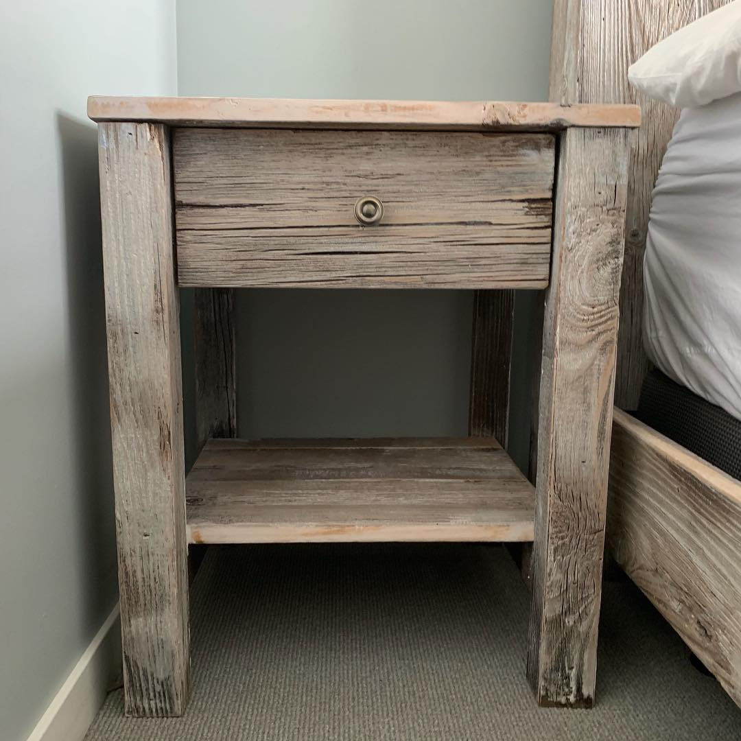 Reclaimed Wood Bed And Nightstand Set In The Seaport