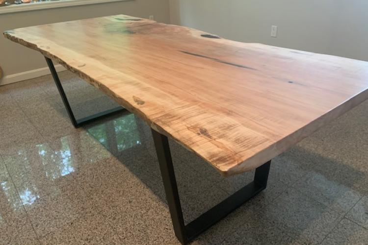 live edge maple slab table with