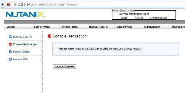 Launch the remote console to access the Hypervisor