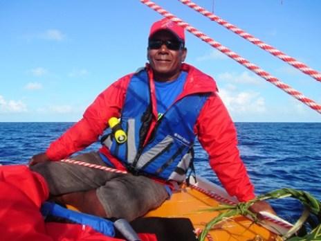 Master canoe builder Binton Daniel on the way to Aur IMG_0128