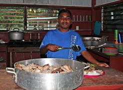 NTC Trainee Darrell Harold takes his turn at cooking. Photo: Suemina Bohanny