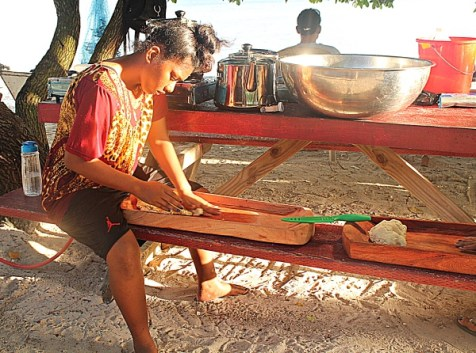 NTC trainee Jerryann Harkey doing prep work for traditional Bwiro (fermented breadfruit). Photo: Suemina Bohanny