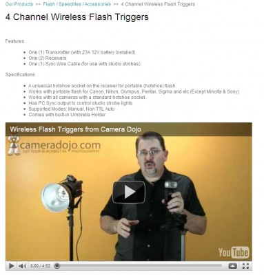 Wireless triggers from Camera Dojo