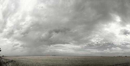 Black and White Panorama of the Kansas Skies