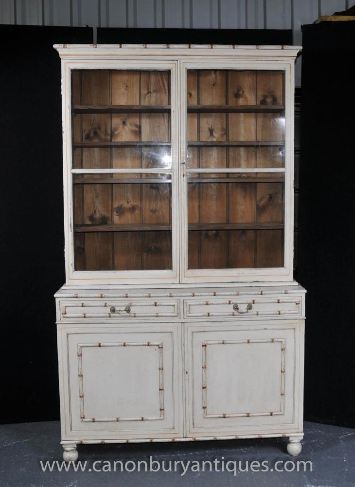 Painted English Kitchen Dresser Bookcase Glass Fronted Cabinet