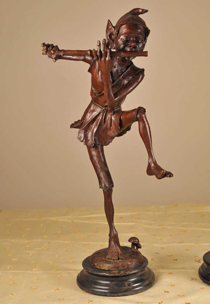 Pair Celtic Goblin Bronze Pixie Statues Pixies