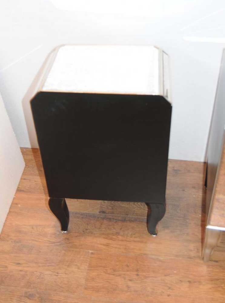 Pair Deco Mirror Night Stands Bedside Chests Mirrored