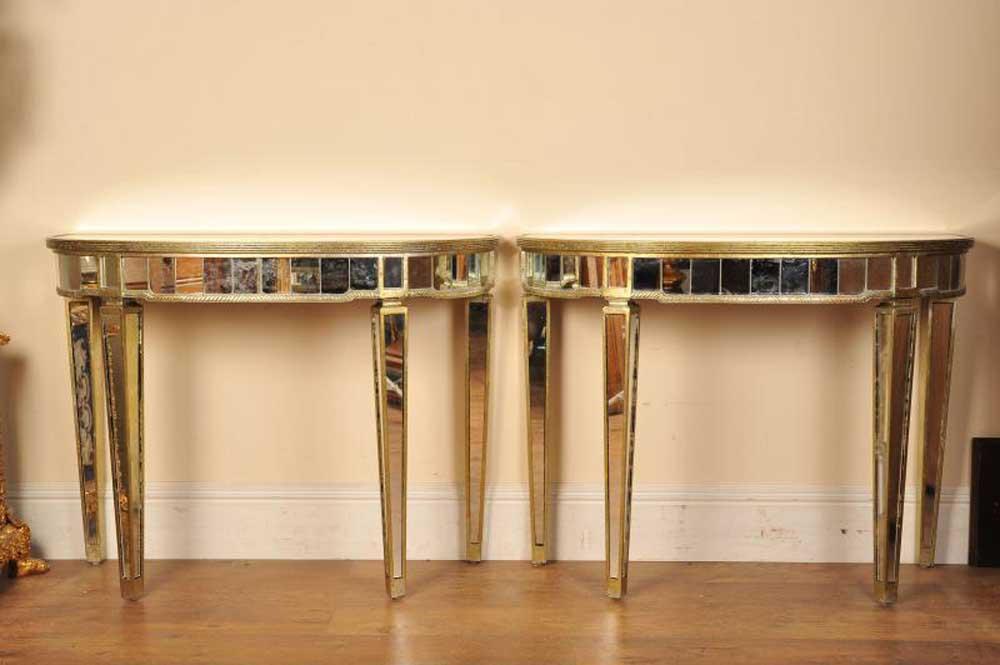 Pair Mirrored Console Tables Art Deco Half Moon
